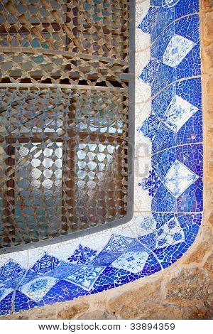 Barcelona Park Guell of Gaudi modernism mosaic details