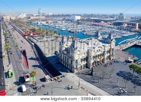 Aerial Barcelona port marina view in passeig de Colon
