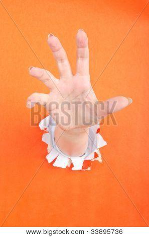 Mão para fora do buraco de papel