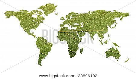 Ecological Balance Concept- World Map Using Leaf