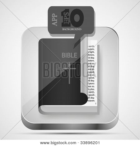 Vector Bible App Icon With Black Bubble Speech.