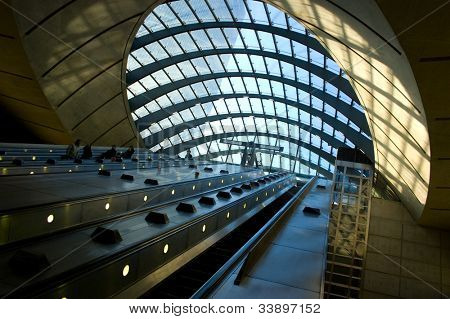 Escalators at Canary Wharf, London