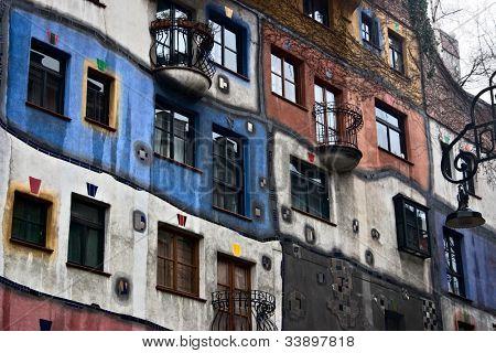 Front view of weird Hundertwasser Haus, an apartement complex for poor people, in Vienna Austria