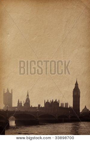 texturas de papel vintage. Edificios del Parlamento con el Big Ben de la torre en la vista de Londres UK de temas r