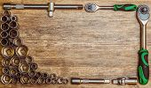 A Set Of Tool Heads For Loosening Screws, Bolts And Nuts. Screwdriver With Ratchet.set Of Different  poster