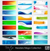 Colorful shiny banners or website headers with abstract wave and circle concept.EPS 10. Vector illus