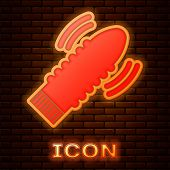 Glowing Neon Dildo Vibrator For Sex Games Icon Isolated On Brick Wall Background. Sex Toy For Adult. poster