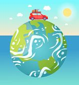 Earth Planet Floating In Water Vector, Red Car With Baggage And Luggage On Roof Riding, Sunshine And poster
