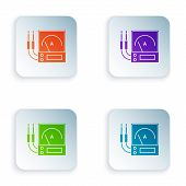 Color Ampere Meter, Multimeter, Voltmeter Icon Isolated On White Background. Instruments For Measure poster