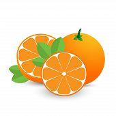 Whole Orange And Sliced Orange With Leaves. Orange Fruits Isolated On White Background. poster