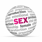 image of std  - 3d Sex Word Sphere on white background - JPG