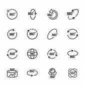 Rotation Line Icon Set.set Of Line Icons On White Background.geometry And Design Concept.rotation, A poster