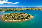 Kosljun. Adriatic Monastery Island Of Kosljun In Punat Bay Aerial View, Island Of Krk, Kvarner Bay O poster