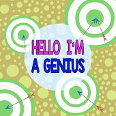 Text Sign Showing Hello I M A Genius. Conceptual Photo Introduce Yourself As Over Average Demonstrat poster