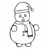 Illustration Of A Snowman. Fairytale Character. Colorless Background. Coloring Book For Children. Ch poster