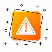 White Exclamation Mark In Triangle Icon Isolated On White Background. Hazard Warning Sign, Careful,  poster
