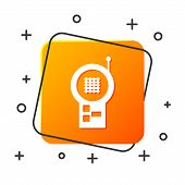 White Baby Monitor Walkie Talkie Icon Isolated On White Background. Orange Square Button. Vector Ill poster
