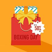 Boxing Day Sale Concept Flat Design Style With Shopping Bag. Design Element Template Can Be Used For poster