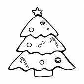 Christmas Tree. Jewelry From Toys. Colorless Background. Coloring Book For Children. Christmas. New  poster