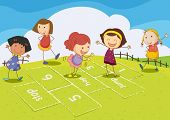 pic of hopscotch  - Illustration of kids playing hopscotch - JPG