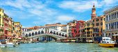 Panoramic View Of Grand Canal, Venice, Italy. Rialto Bridge In The Distance. It Is Famous Landmark O poster
