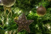 Detail Of Christmas Tree With Lights poster