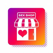 White Sex Shop Building With Striped Awning Icon Isolated On White Background. Sex Shop, Online Sex  poster
