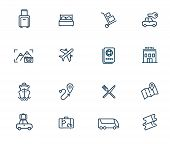 Travel And Tourism Vector Linear Icons Set. Elements Tourism Outline Symbols Pack. Collection Of Tra poster