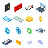Digital Wallet Icons Set. Isometric Set Of Digital Wallet Vector Icons For Web Design Isolated On Wh poster