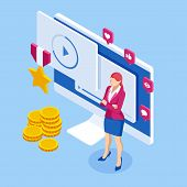 Isometric Best Video Watching, Cinema Reputation, Video Rating Concept. Woman Using A Modern Laptop  poster