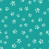 Green Paw Print Icon Isolated Seamless Pattern On Green Background. Dog Or Cat Paw Print. Animal Tra poster