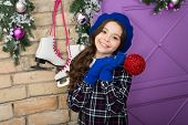 Decorate Your Home For Holiday. Happy Child Hold Christmas Tree Ball. Little Girl Smile With Red Gli poster
