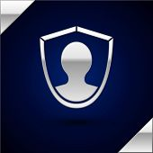 Silver User Protection Icon Isolated On Dark Blue Background. Secure User Login, Password Protected, poster