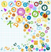 stock photo of nouns  - colorful background with alphabet theme for kids - JPG