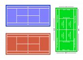 An exact scale vector illustration of a tennis court with markings and dimensions, depicting grass c