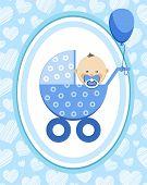 Newborn Baby, Boy, Postcard, Asia, Blue Hearts, Vector/newborn Baby, Boy, Postcard, Asia, Blue Heart poster