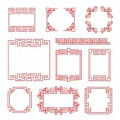 Chinese Frames. Asian New Year Decorative Traditional Borders, Oriental Red Line Retro Pattern For I poster