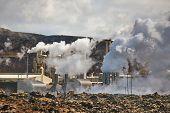 Geothermal power plant in Iceland through heat haze, Reykjanes Peninsula poster