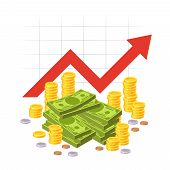 Cartoon Savings Value Growth. Money Profit With Red Rising Up Graph Arrow And Cash Pile. Economic Gr poster