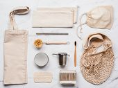 Textile Eco Bags, Metal Straws And Tea Infuser, Eco-friendly Kitchen Tools, Bamboo Toothbrush And Co poster