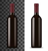 Bottle Of Red Wine Isolated On White And Transparent. Vector Alcohol Drink In Glass Bottle Without L poster