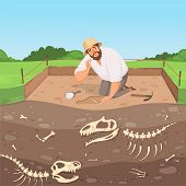Archaeology Character. Man Discovery Underground Geology Digging Dinosaur Bones In Soil Layers Histo poster