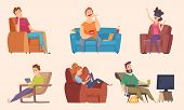 Sedentary Lifestyle. Man And Woman Sitting Relaxing Eating Food Lazy Working Fat Unhealthy Character poster