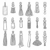 Leather Accessories. Handbag Fringes Trinket Vector Fashioned Items Collection. Illustration Pendant poster