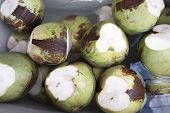 Fresh Green Coconuts Lie In Water With Ice. For Sale In The Market poster