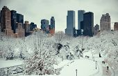 Central Park winter with skyscrapers in midtown Manhattan New York City poster