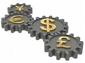 image of gold tooth  - The major international currencies working together symbolized by gears - JPG