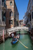 Picturesque view of Gondola on lateral narrow Canal, Venice, Italy. Classical picture of venetian ca poster