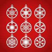 Christmas Balls Set With A Snowflake Cut Out Of Paper. Templates For Laser Or Plotter Cutting Or Pri poster