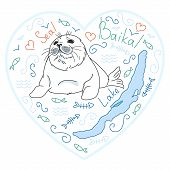 Cute Fur Seal, Baby Baikal Lake Nerpa On White Background With Doodle Elements, Animal Extinction Pr poster